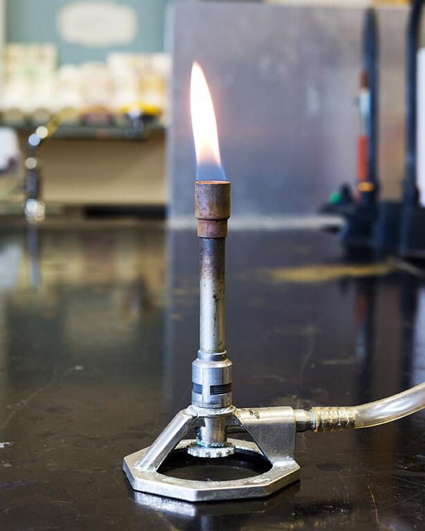 bunsen burner in lab
