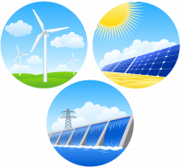 Illustration of renewable energy sources wind solar and hydropower